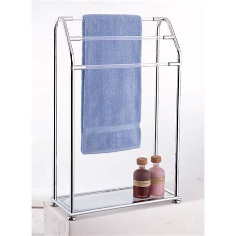 Bath Towel Shelf Rack by Bathroom Towel Rack Holder 3 Bar Glass Shelf Free Standing