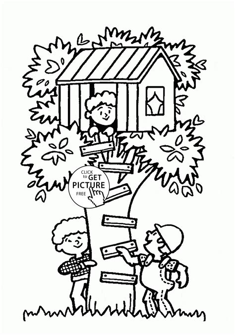 tree house summer fun coloring page for kids seasons
