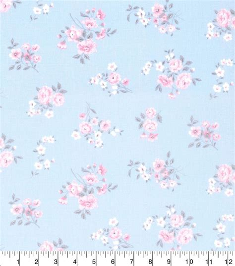 made in america cotton fabric shabby chic spaced floral blue cotton fabric blue and shabby chic