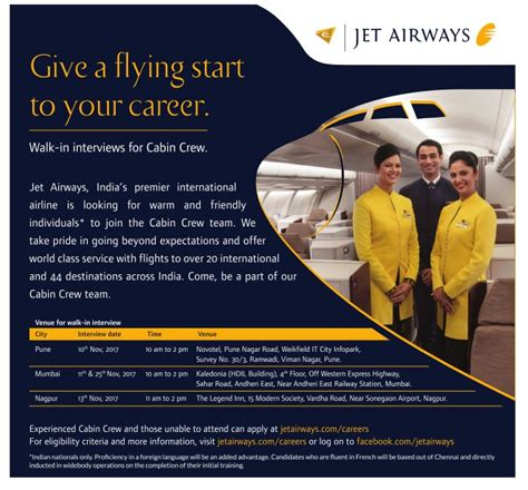 jet airways cabin crew recruitment jet airways invites applications for cabin crew ad