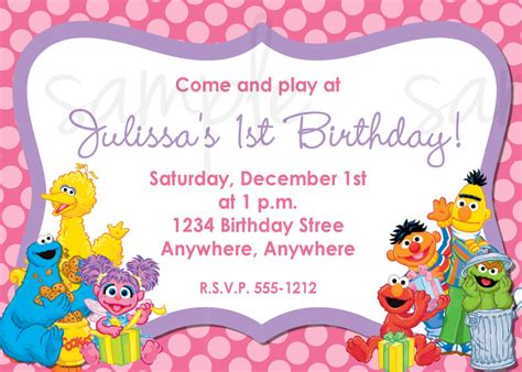 sesame birthday card template sesame birthday invitations best ideas