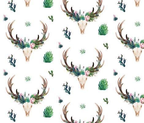 "8"" CACTUS BOHO SKULL wallpaper - shopcabin - Spoonflower A-paper Clip Art"