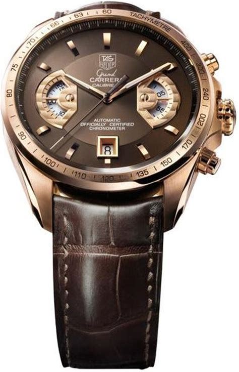 Tagheuer Space X Leather Rosegold grand calibre 17 rs chronograph gold 18k