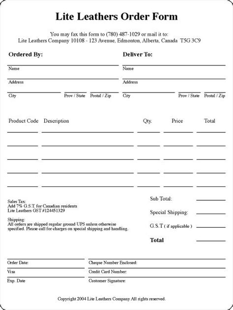 embroidery order form template free gallery templates