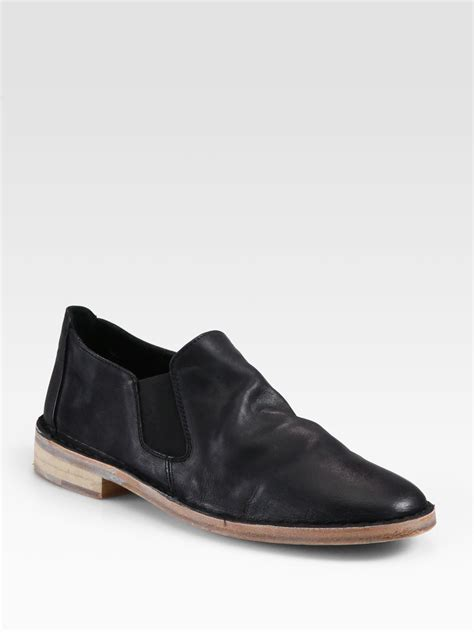 moccasin loafers vince leather moccasin loafers in black lyst