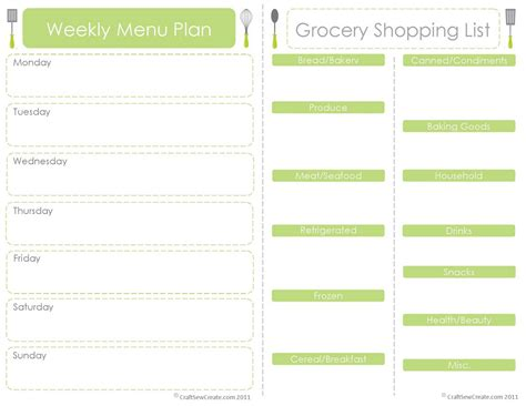 Free Printable Grocery List With Menu | craft sew create free printable menu plan shopping list