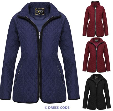 Plus Size Quilted Coat by New Padded Zip Quilted Jacket Womens Coat Plus Sizes 8 20 Ebay