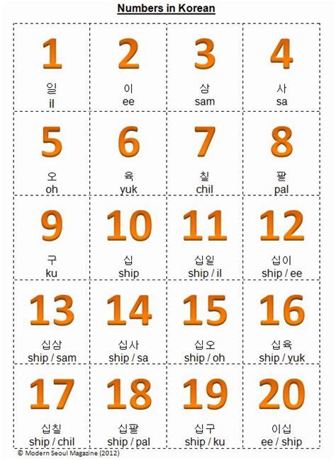 printable korean numbers numbers in korean free flashcards printout modern seoul