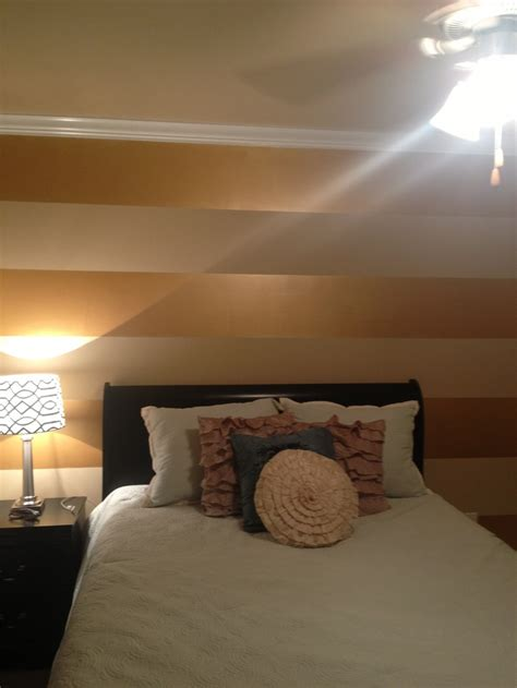 gold walls bedroom my very own striped metallic accent wall bedroom stripe