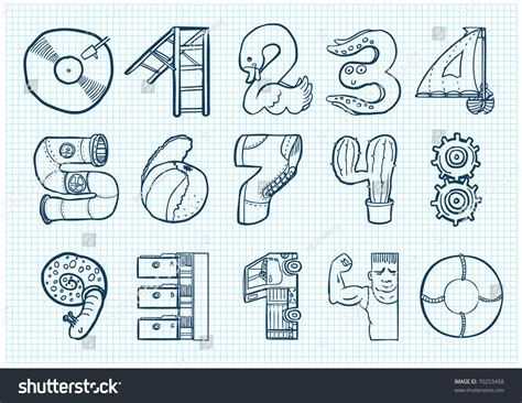 doodle numbers doodle numbers stock vector illustration 70253458