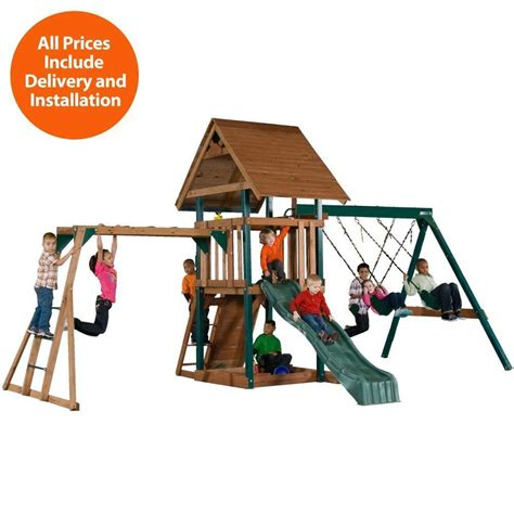 wooden swing set kits home depot swing n slide playsets installed skyrise deluxe wood