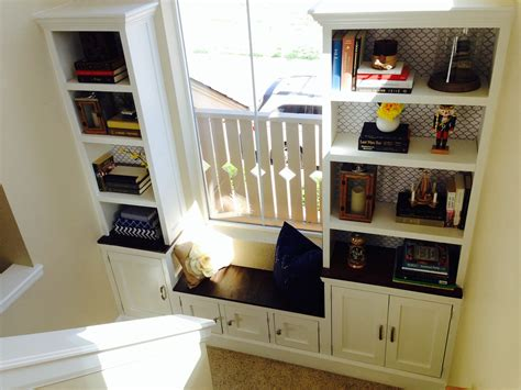 ana white stairs landing built  bench cabinet