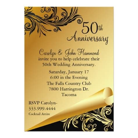 Black Gold 50th Wedding Anniversary Invitation Zazzle Com Golden Anniversary Invitation Templates