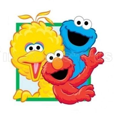 Sesame street big bird cookie monster and elmo wavin iron on cartoon