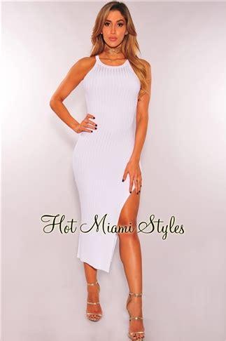 Knit Slit Midi Dress white ribbed knit slit midi dress
