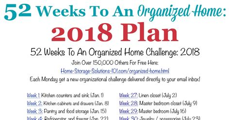 week list 2018 52 weeks to an organized home join the weekly challenges