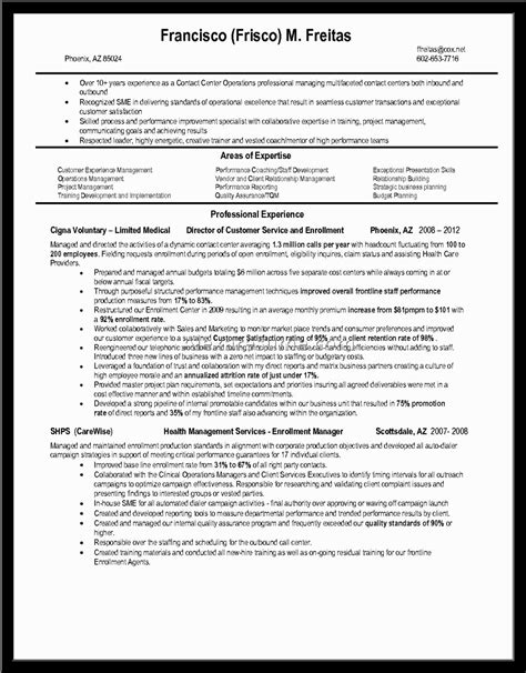 Sle Resume For Experienced In Bpo sle resume for call center 28 images sle resume for