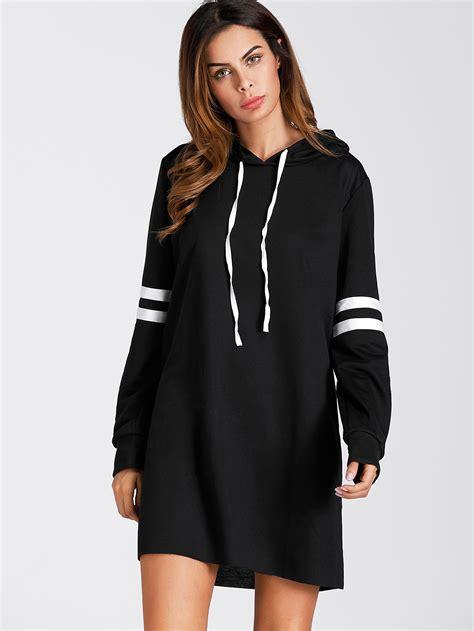 dress hodie varsity striped hoodie dressfor romwe