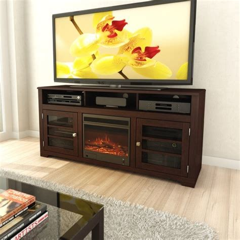 west lake 60 quot tv stand with electric fireplace modern