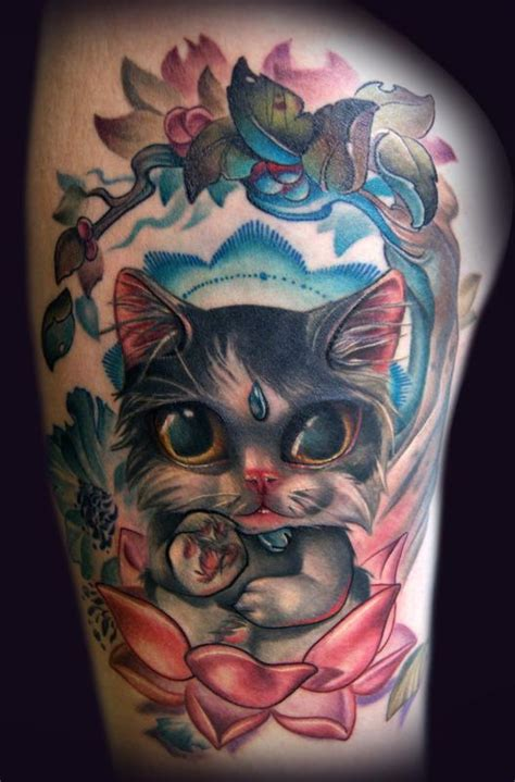 new school buddha tattoo buddha cat finished tattoo by kelly doty tattoos