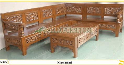 Meja Sudut Kayu set kursi sudut tamu ukiran mawarsari allia furniture