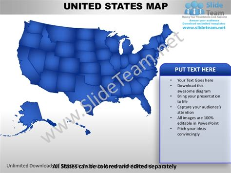 Editable United States Power Point Map With Capital And Flag Template United States Powerpoint Template