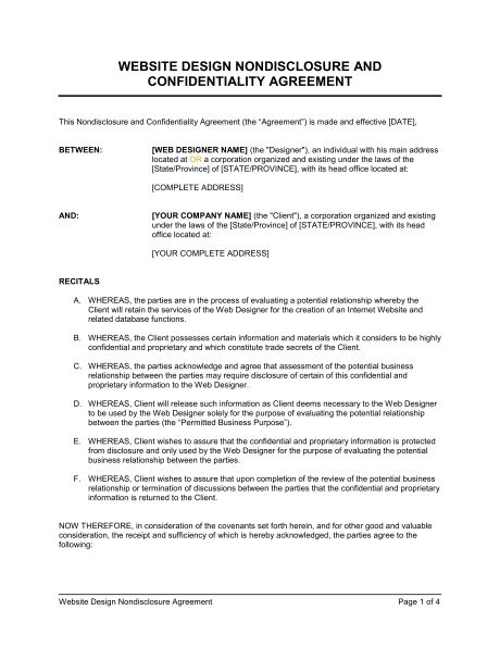 secrecy agreement template 6 non disclosure agreement templates excel pdf formats