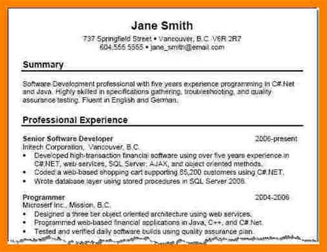 Resume Template Summary by Resume Summary Exles
