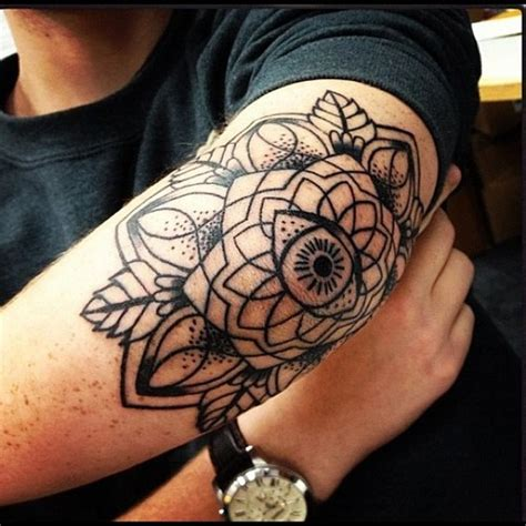 eye mandala elbow tattoo venice tattoo art designs