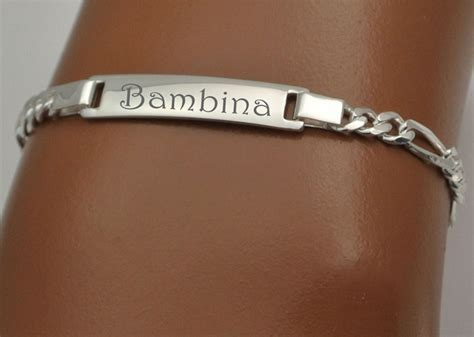 Sterling Silver Figaro Link Baby ID Bracelet > Engraved