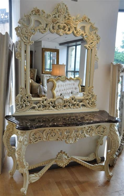 solid mahogany marble off white shabby chic french italian console table mirror ebay