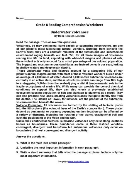 Eighth Grade Reading Worksheets | Reading worksheets, 8th
