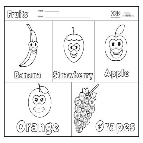 imagenes en ingles para colorear dibujos de frutas en ingles para colorear
