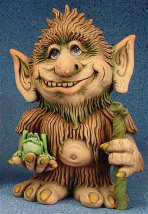 creepy unpainted ceramic bisque backyard troll  staff sculpture