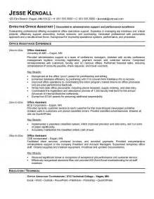 Resume Objective For Office Assistant by Exle Office Assistant Resume Free Sle