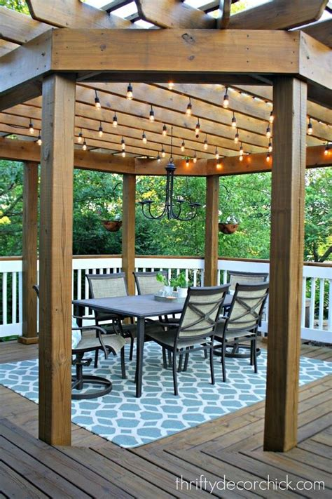 Our Beautiful Outdoor Dining Room Outdoor Dining Room Lights On Pergola