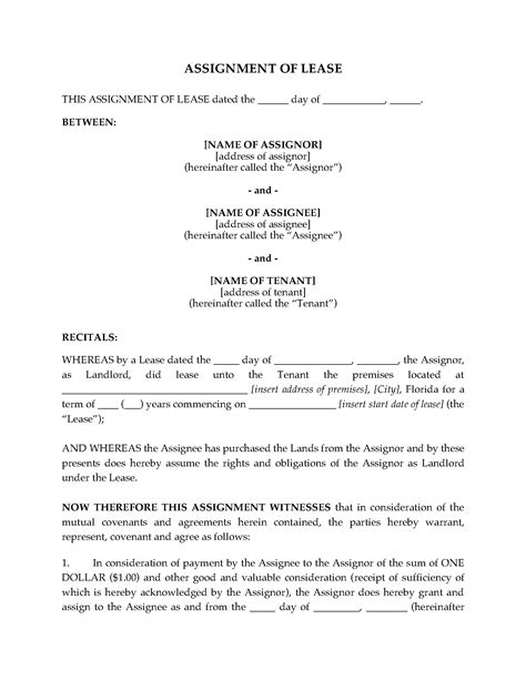 assignment of lease template florida assignment of lease by landlord forms and