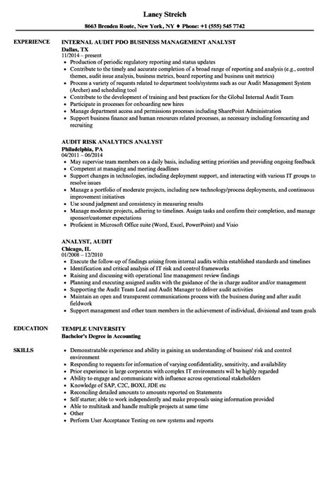 Audit Analyst Sle Resume by Analyst Audit Resume Sles Velvet