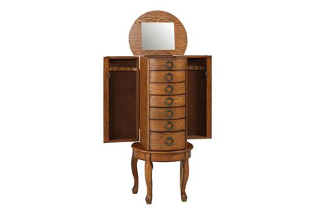 oak jewelry armoire clearance burnished oak jewelry armoire powell 604 318 at gardner white
