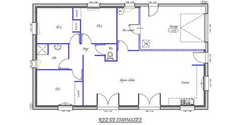 plan maison 4 chambre plain pied charmant plan maison plain pied gratuit 4 chambres 14
