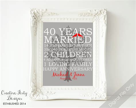 40th Wedding Anniversary Gifts by 40th Wedding Anniversary Gift 40th Anniversary Print
