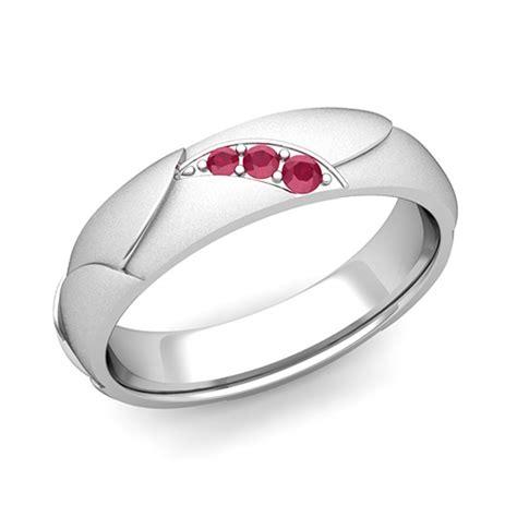 matching wedding bands 3 ruby wedding ring in platinum