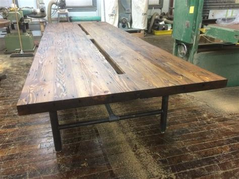table legs made from pipe handmade reclaimed wood conference table with pipe legs by