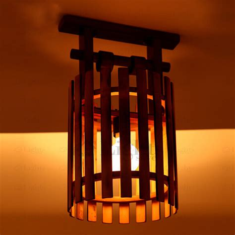 wooden ceiling lights vintage wooden and bamboo fixture semi flush mount ceiling