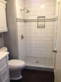 Large Subway Tile Large Subway Tile With And Niche Shower Tile Tile Bathroom Floors Subway