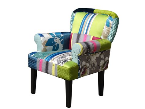 patchwork chairs foxhunter patchwork chair fabric vintage armchair seat