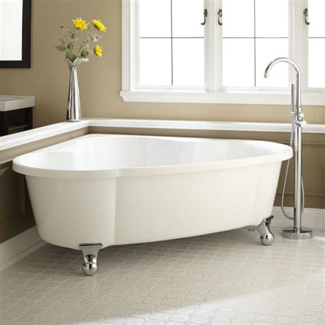 corner tub ideas bathroom serene white bathroom with outside garden view