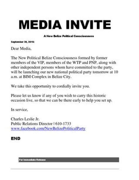 Press Conference Invitation Letter To Media Media Invite 9 30 15 By Leslie Tech Belize Issuu
