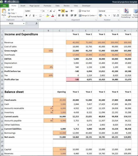 business plan financial projections template free best