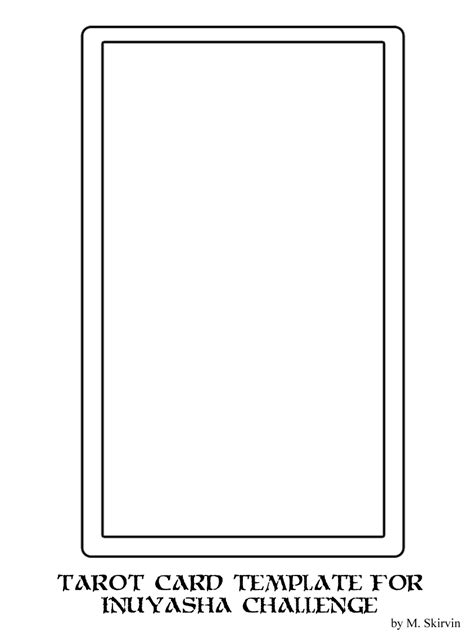 Tarot Card Template Illustrator by Inuyasha Tarot Template By M Skirvin On Deviantart